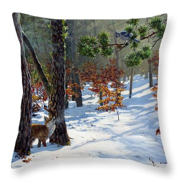 A Meeting In The Woods Throw Pillow