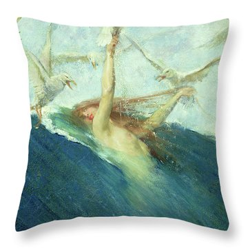 A Mermaid Being Mobbed By Seagulls Throw Pillow
