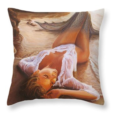 A Mermaid In The Sunset - Love Is Seduction Throw Pillow