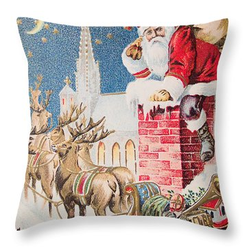 A Merry Christmas Vintage Greetings From Santa Claus And His Raindeer Throw Pillow