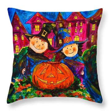A Merry Halloween Throw Pillow by Zaira Dzhaubaeva