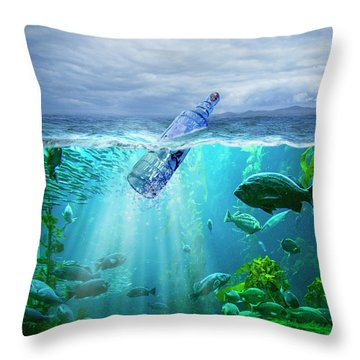 A Message In A Bottle Throw Pillow