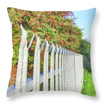 A Metal Fence Throw Pillow