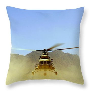 A Mi-17 Hip Helicopter Hovers Throw Pillow