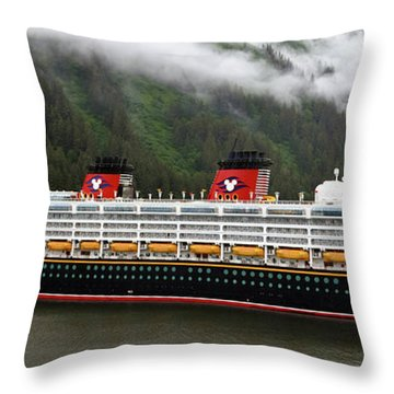 A Mickey Mouse Cruise Ship Throw Pillow