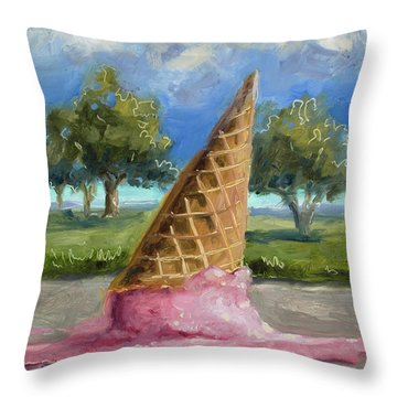 Throw Pillow featuring the painting A Mid Summer Tragedy by Billie Colson