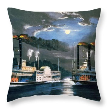 A Midnight Race On The Mississippi Throw Pillow by Currier and Ives