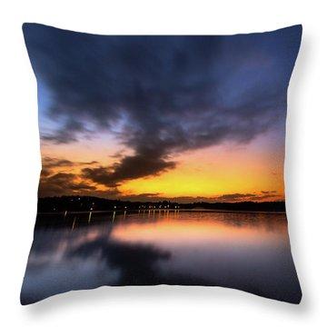 A Misty Sunset On Lake Lanier Throw Pillow