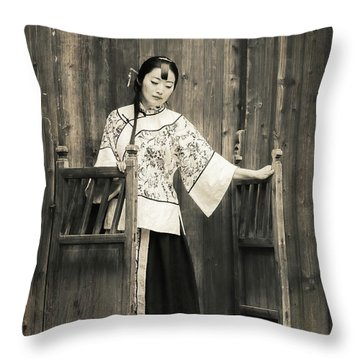 A Model In A Period Costume. Throw Pillow