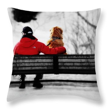 A Moment With Friend Throw Pillow by Zinvolle Art
