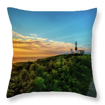 A Montauk Lighthouse Sunrise Throw Pillow