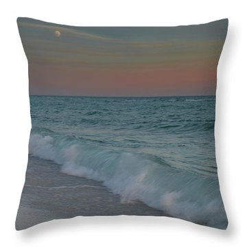 Throw Pillow featuring the photograph A Moonlit Evening On The Beach by Renee Hardison