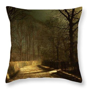 A Moonlit Lane Throw Pillow by John Atkinson Grimshaw