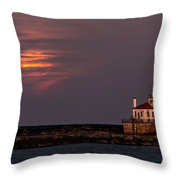 Throw Pillow featuring the photograph A Moonsetting Sunrise by Everet Regal