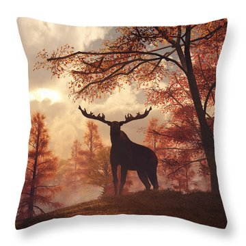 A Moose In Fall Throw Pillow by Daniel Eskridge