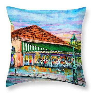 A Morning At Cafe Du Monde Throw Pillow