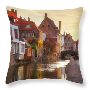 A Morning In Brugge Throw Pillow by JR Photography