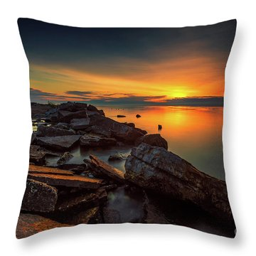 A Morning On The Rocks Throw Pillow