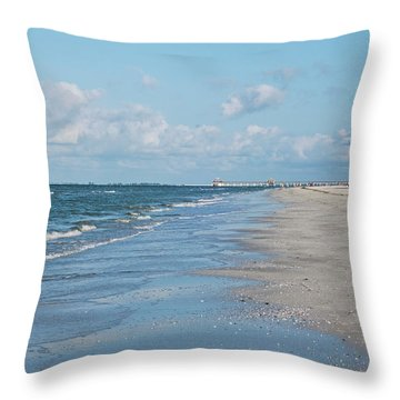 A Morning Walk On Fort Myers Beach Fort Myers Florida Throw Pillow