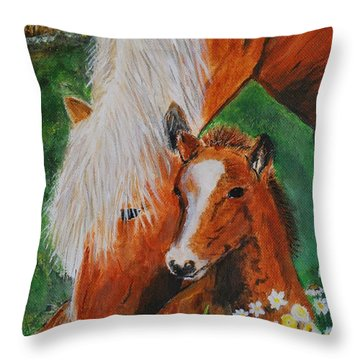 Throw Pillow featuring the painting A Mothers Love by Leslie Allen