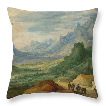 A Mountainous Landscape With Travellers And Herdsmen On A Path Throw Pillow