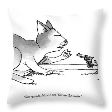 A Mouse Is In Front Of A Mouse Hole Pointing Throw Pillow