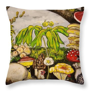 A Mushroom Story Throw Pillow