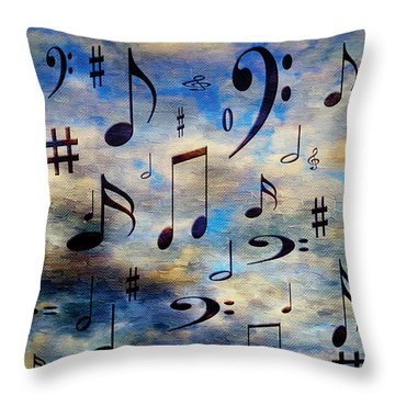 Throw Pillow featuring the digital art A Musical Storm 3 by Andee Design