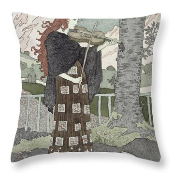 A Musician Throw Pillow by Eugene Grasset