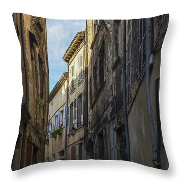 Throw Pillow featuring the photograph A Narrow Street In Viviers by Allen Sheffield