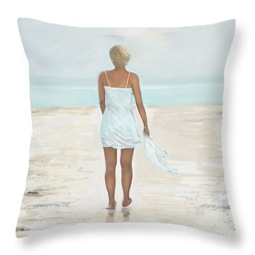Throw Pillow featuring the painting A Natural Beauty by Leslie Allen