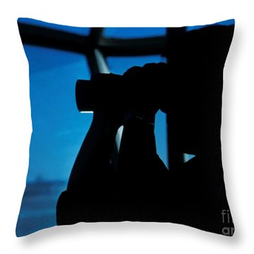 A Navy Air Traffic Controller Maintains Throw Pillow by Michael Wood