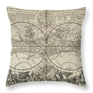 A New Map Of The Whole World With Trade Winds Herman Moll 1732 Throw Pillow