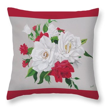 Throw Pillow featuring the painting A New Rose Bouquet by Hilda and Jose Garrancho