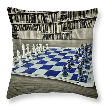 Throw Pillow featuring the photograph A Nice Game Of Chess by Lewis Mann