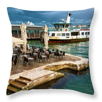 A Nice Place To Eat And An Old Ship On The Water In Venice, Italy Throw Pillow