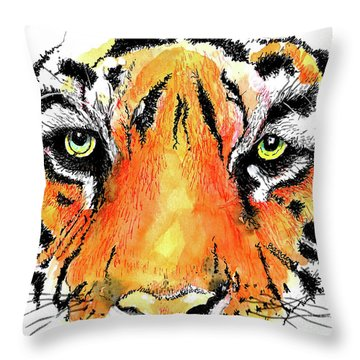Throw Pillow featuring the painting A Nice Tiger by Terry Banderas