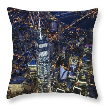 Throw Pillow featuring the photograph A Night In New York City by Roman Kurywczak