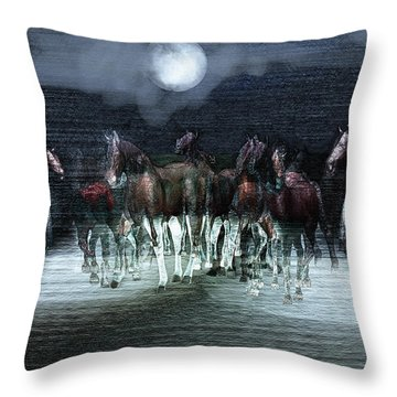 A Night Of Wild Horses Throw Pillow