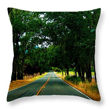 A Nor Cal Country Road Throw Pillow