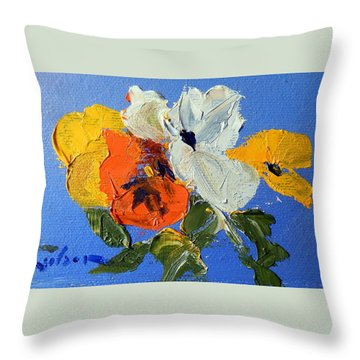 A Nudge Of Pansies Throw Pillow by Ron Wilson