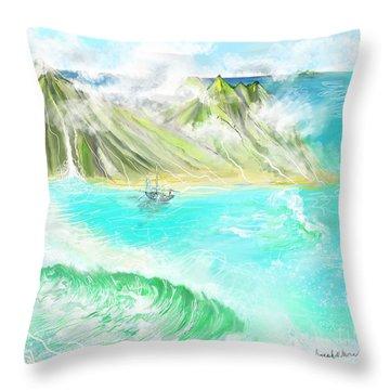 A Ocean Some Where Throw Pillow
