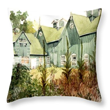 Watercolor Of An Old Wooden Barn Painted Green With Silo In The Sun Throw Pillow