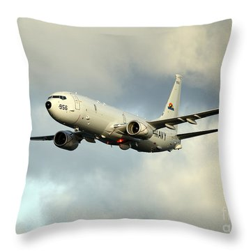 Throw Pillow featuring the photograph A P-8a Poseidon In Flight by Stocktrek Images