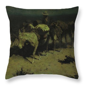 A Pack Train Throw Pillow by Frederic Remington