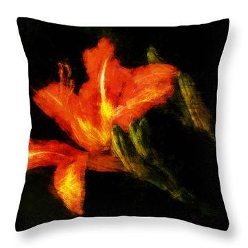 A Painted Lily Throw Pillow by Cameron Wood