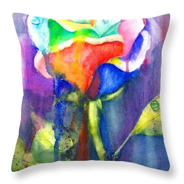 A Painted Rose In The Rain Throw Pillow