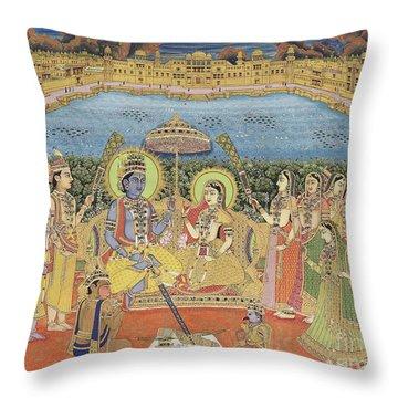 A Painting Of Rama And Sita, India, Jaipur, Circa 1800  Throw Pillow