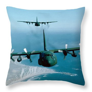Throw Pillow featuring the photograph A Pair Of C-130 Hercules In Flight by Stocktrek Images