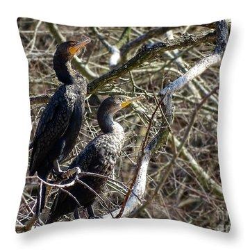 A Pair Of Cormorants Throw Pillow